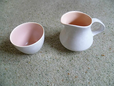 Vintage Poole Pottery Twin Tone Pink And Grey jug & Bowl Retro