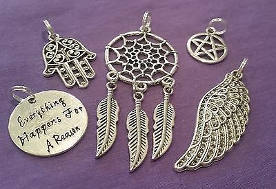 Wow - Collection Of 5 Assorted Silver Plated Pendants Inc Free Postage