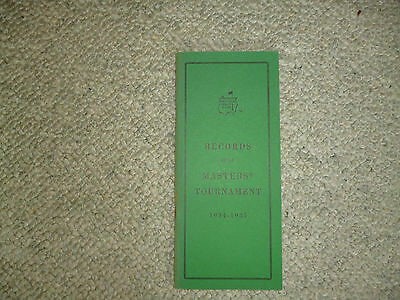Masters Records 1934 -1985 Augusta National
