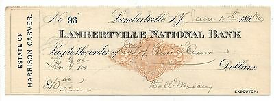 1900 Lambertville New Jersey Bank Check RN-X7
