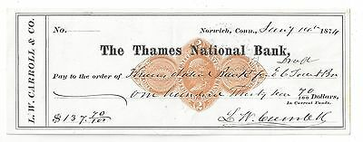 1874 Norwich Connecticut Bank Check RN-D1