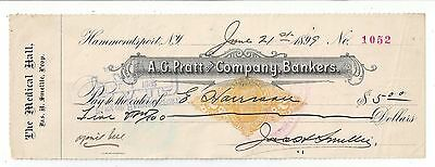 1899 Hammondsport New York Bank Check RN-X7