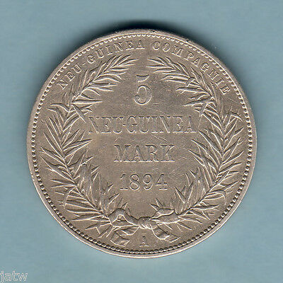German New Guinea. 1894-A  5 Mark.. Trace Lustre..  VF+