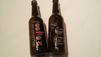 2x rare Hochstift Millenium 2000 Edition Beer Empty Glass Bottle Germany Collect