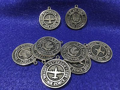 Lot of 9 Vintage United States Air Force Wright Patterson AFB Metal Key Fobs
