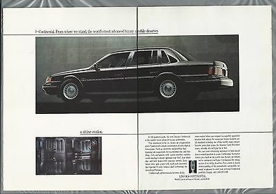 1988 LINCOLN CONTINENTAL 2-page advertisement, Canadian advert, black sedan