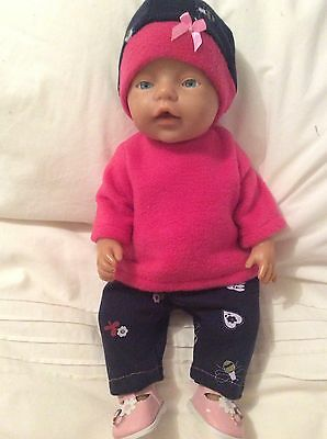 """Doll Clothes to fit 17"""" Baby Born doll ~ 3 piece set ~ Navy. Pink"""