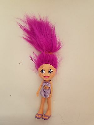 TROLLZ Troll DOLL Purple Hair Heart belly button  6.5 INCH