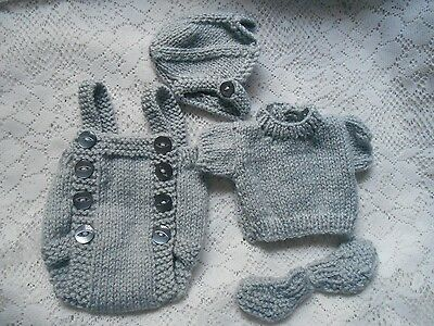 """Doll Clothes Hand-knit Grey Mouse Suit 4pcs Fits 11"""" to 13""""Composition Baby"""