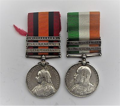 Pair Q.s.a & K.s.a  Medals To 4140 Pte. J.gregory.2Nd Wilts Reg. With 5 Clasps