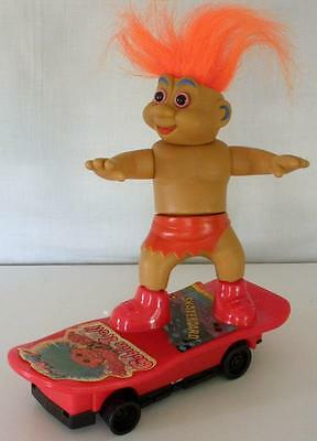 Vintage Taiwan Battery Operated Funny Goblin Troll On Skateboard- Works Great