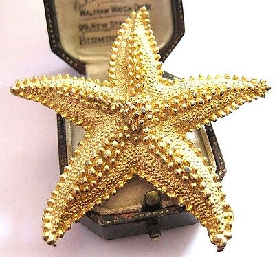VINTAGE Large Gold tone STAR FISH Jewellery Pin Brooch