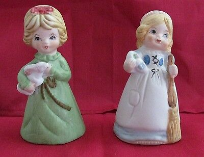 Porcelain Bells Little Girls With Bunny Rabbit And Broom Lot Of 2
