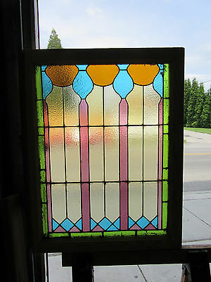 ~ Antique American Stained Glass Window ~ 28 X 36 Architectural Salvage ~