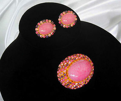 Vintage Austria Pink Art Glass Rhinestone Domed Brooch & Earrings