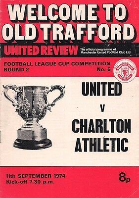 74/75 MANCHESTER UNITED v. CHARLTON ATHLETIC - League Cup.