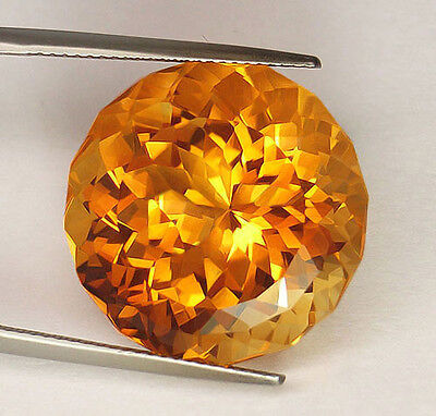 30.35Ct Huge Certified Natural Custom Portuguese Round Cut Golden Yellow Citrine