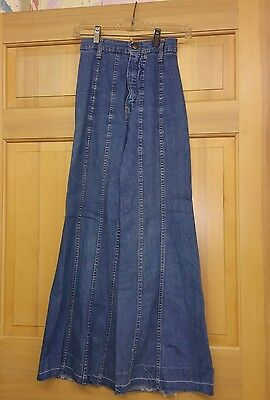 Vtg 70s Hillbilly Jeans Naturally Faded High Waist Elephant Bell