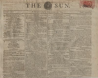 """RARE ORIGINAL NEWSPAPER """"THE SUN"""" (10 December 1800) TRANSPORTED CONVICTS NAMED"""