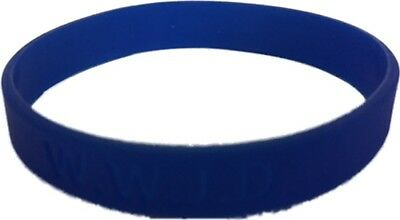 6 W.W.J.D. Silicone Wrist Bands WWJD Royal Blue
