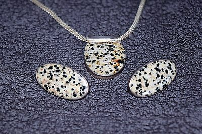 Large spotted dalmation jasper necklace pendant earring set sterling silver