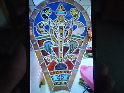 Antique Church Stained Glass Window Architectural Salvage EARLY 1900'S W/ Cross