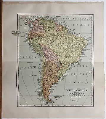 Original 1887 Map South America Chambers's Encyclopedia Collier Publisher