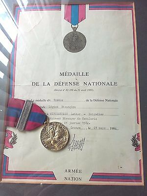 Rare French Foreign Legion 1 Rec Defence Medal With Document
