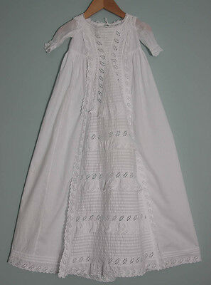 Antique Wite Cotton Christening Gown Baby Doll Broderie Anglaise (459)
