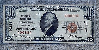 Rare $10 Bill National Currency Note Type 1 Anaheim California 1929 Double Aa