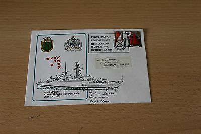 H.M.S.ARROW 1976 FIRST COMMISSION COVER @ SUNDERLAND Signed by NICK BARKER R.N.