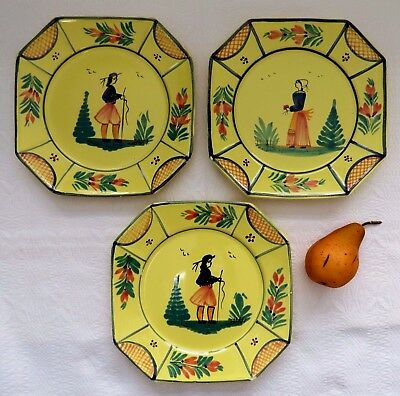 "3 Vtg HB QUIMPER France 10"" Yellow Soleil DINNER PLATES Good Cond. w/Minor Chips"