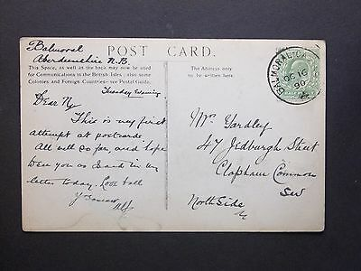 GB Royalty 1906 KEVII 1/2d Balmoral RP Postcard BALMORAL CASTLE s/c to London