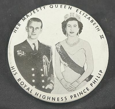 1950's PINBACK Queen Elizabeth and Prince Phillip Union Made