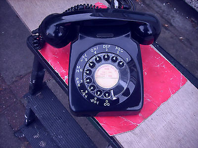 Old Vintage Ex Gpo/bt Dial Phone / Telephone In  Black /jet Black Must  C