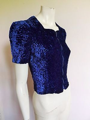 Vintage 30s/40s JOAN KENLEY  Sapphire Blue Ruched Silk Velvet Zip Cocktail Top S