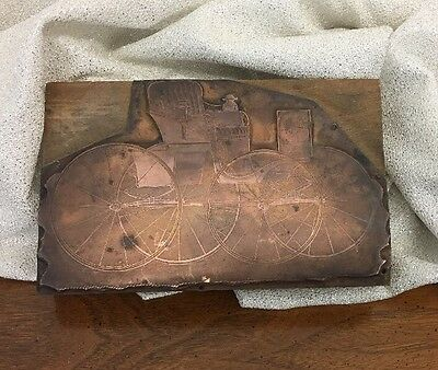 Wonderful Copper On Wood Printing Press Block Stamp Of Fancy Buggy