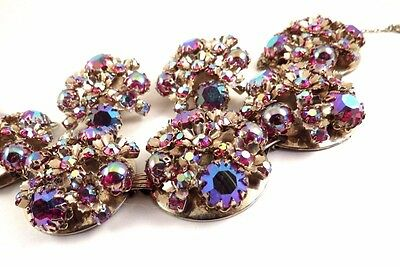 Vintage Pink Rhinestone Bracelet Earrings SET Demi Pink AB Glass Cabochons