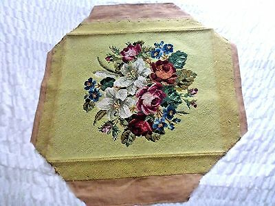 FAB! antique vintage hand-stitched completed wool tapestry cabbage roses & Lily