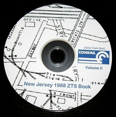 "Conrail 1988 New Jersey Division V2 Zone-Track-Spot ""ZTS"" Maps PDF Pages on DVD"