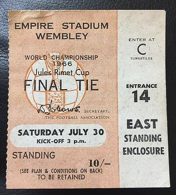Original 1966 World Cup Final Ticket England V West Germany