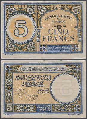 1943 WW II Second Issue Occupied Morocco 5 Francs
