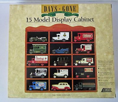 Lledo 15 Model Wood Display Cabinet With  New Vehicles Included