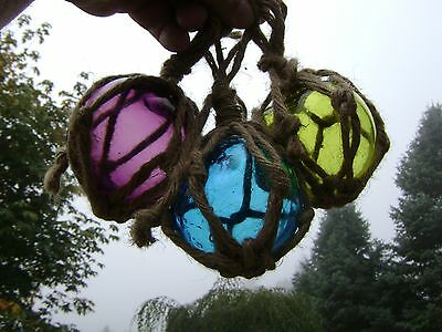 Three 3 Inch Colored Curio Glass Floats Balls Buoys Bouys Fishing Net