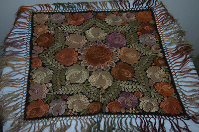 Antique Vintage Hungarian Mayto Embroidered Tablecloth Folk Art (4883)