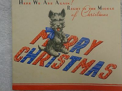 Scotty Scottie Dog Right In The Middle Of Christmas Blue And Red Christmas Card