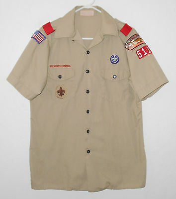 BOY SCOUTS Of America UNIFORM Shirt # 511 Scout w/ Patches YOUTH Boys : XL