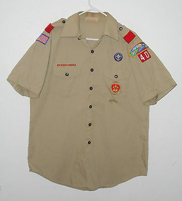 BOY SCOUTS Of America UNIFORM Shirt # 40 Scout w/ Patches Adult Mens : LG