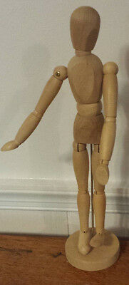 """Art supply man articulated mannequin human form wooden male w base 12"""" tall"""