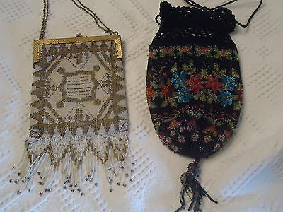 ANTIQUE 1920'S FLAPPER BAG, BEADED W/gold STONES SET IN FRAME, GREAT CONDITION